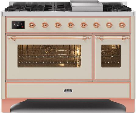 Majestic II Series 48 Inch Dual Fuel Natural Gas Freestanding Range in Antique White with Copper Trim