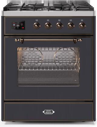 Ilve Majestic II UM30DNE3MGBLP Freestanding Dual Fuel Range Graphite, UM30DNE3MGBLP-Front-CD-A