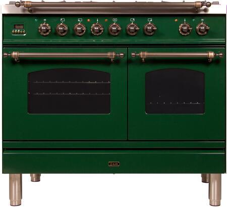 Ilve Nostalgie UPDN100FDMPVSYLP Freestanding Dual Fuel Range Green, UPDN100FDMPVSYLP Liquid Propane Range