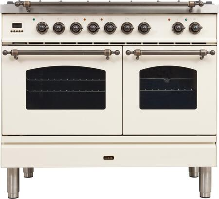 "UPDN100FDMPAY 40"" Nostalgie Series Dual Fuel Natural Gas Range with 5 Sealed Brass Burners, 3.55 cu. ft. Total Capacity True Convection Oven, Griddle, with Bronze Trim, in Antique White"