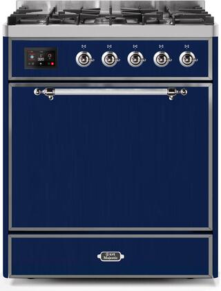 Ilve Majestic II UM30DQNE3MBC Freestanding Dual Fuel Range Blue, UM30DQNE3MBCNG-Front-CD-A