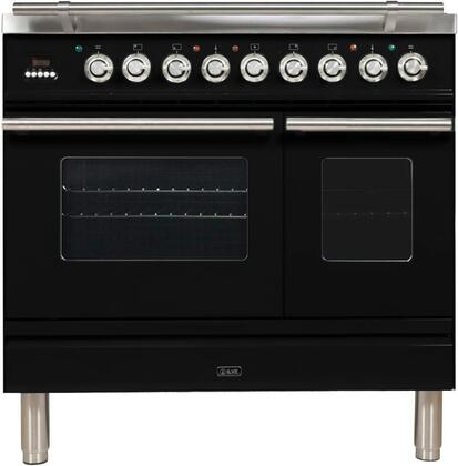 "UPDW90FDMPNLP 36"" Professional Plus Dual Fuel Liquid Propane Range with 5 Sealed Burners, Double Oven, Griddle, Rotisserie, and Warming Drawer, in Glossy Black"