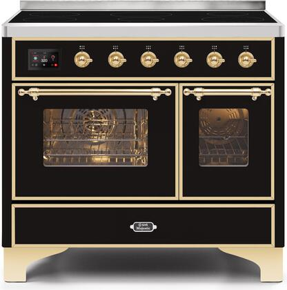 """UMDI10NS3BKG 40"""" Majestic II Series Induction Range with 6 Elements, 3.82 cu. ft. Total Oven Capacity, TFT Oven Control Display, Brass Trim, in Glossy Black"""