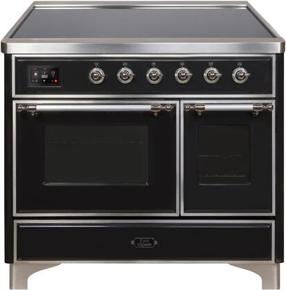 """UMDI10NS3BKC 40"""" Majestic II Series Induction Range with 6 Elements, 3.82 cu. ft. Total Oven Capacity, TFT Oven Control Display, Chrome Trim, in Glossy Black"""
