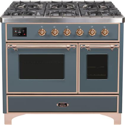 """UMD10FDNS3/BGP 40"""" Majestic II Series Dual Fuel Range with 6 Sealed Burners and Griddle, 3.82 cu. ft. Total Oven Capacity, TFT Oven Control Display, Triple Glass Cool Door Oven, Grey Blue"""