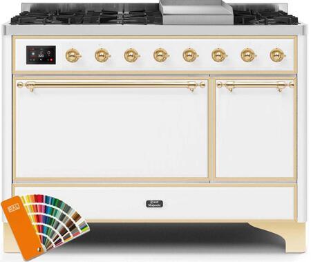 Ilve Majestic II UM12FDQNS3RALG Freestanding Dual Fuel Range Custom Color, UM12FDQNS3RALGNG-Front-CD-A