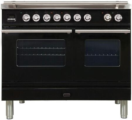 "UPDW1006DMPNLP 40"" Professional Plus Series Freestanding Dual Fuel Liquid Propane Range with 2 Ovens, 6 Sealed Burners, Warming Drawer, and 4 cu. ft. Total Oven Capacity, in Glossy Black"