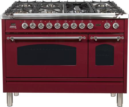 Ilve Nostalgie UPN120FDMPRBXLP Freestanding Dual Fuel Range Red, UPN120FDMPRBXLP Liquid Propane Range