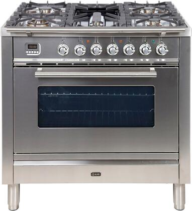 Professional Plus Series 36 Inch Dual Fuel Natural Gas Freestanding Range in Stainless Steel with Chrome Trim