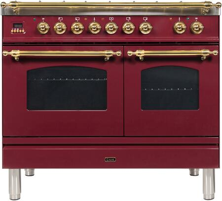 "UPDN100FDMPRB 40"" Nostalgie Series Dual Fuel Natural Gas Range with 5 Sealed Brass Burners, 3.55 cu. ft. Total Capacity True Convection Oven, Griddle, with Brass Trim, in Burgundy"