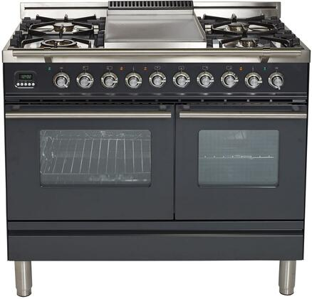 "UPDW100FDMPMLP 40"" Professional Plus Series Freestanding Dual Fuel Liquid Propane Range with Griddle, 2 Ovens, 4 Sealed Burners, Warming Drawer, and 4 cu. ft. Total Oven Capacity in Matte Graphite"