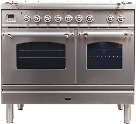 Ilve Nostalgie UPDN100FDMPIXLP Freestanding Dual Fuel Range Stainless Steel, UPDN100FDMPIXLP Liquid Propane Range