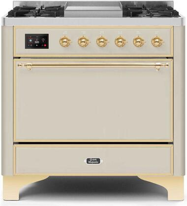 """UM09FDQNS3AWG Natural Gas 36"""" Majestic II Series Dual Fuel Range with 6 Burners and Griddle, 4.1 cu. ft. Oven Capacity, TFT Oven Control Display, Brass"""