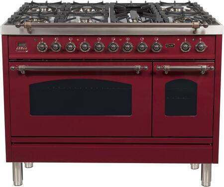 Ilve Nostalgie UPN120FDMPRBY Freestanding Dual Fuel Range Red, UPN120FDMPRBY Dual Fuel Range