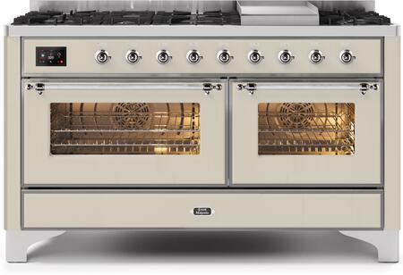 """UM15FDNS3AWC 60"""" Majestic II Series Dual Fuel Natural Gas Range with 9 Sealed Burners amd Griddle, 5.8 cu. ft. Total Oven Capacity, TFT Oven Control Display, Chrome Trim, in Antique White"""