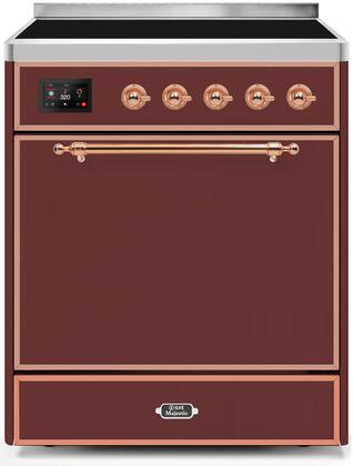 Ilve Majestic II UMI30QNE3BUP Freestanding Electric Range Red, UMI30QNE3BUP-Front-CD-A