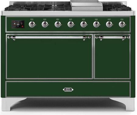 Ilve Majestic II UM12FDQNS3EGC Freestanding Dual Fuel Range Green, UM12FDQNS3EGCNG-Front-CD-A