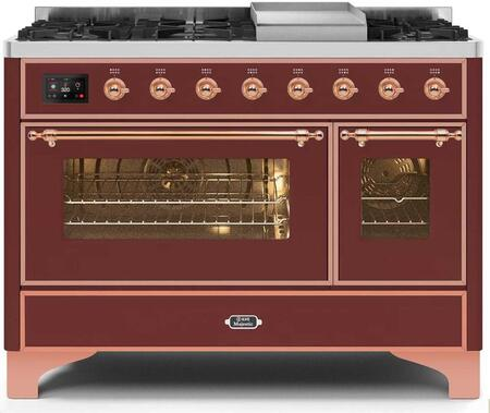 Ilve Majestic II UM12FDNS3BUP Freestanding Dual Fuel Range Red, UM12FDNS3BUPNG-Front-CD-A