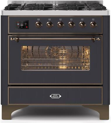 Ilve Majestic II UM096DNS3MGB Freestanding Dual Fuel Range Graphite, UM096DNS3MGBNG-Front-CD-A