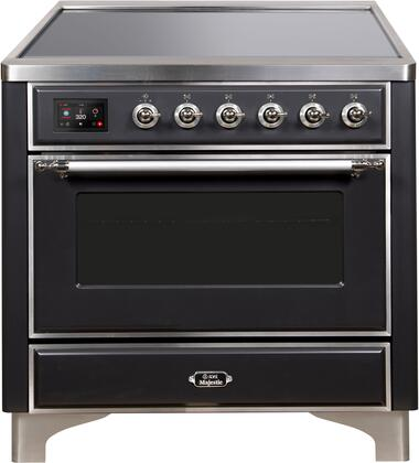 Ilve Majestic II UMI09NS3MGC Freestanding Electric Range Graphite, UMI09NS3MGC-Front-CD-A