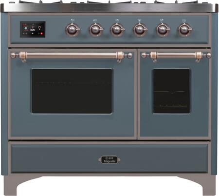 "UMD10FDNS3/BGBLP 40"" Majestic II Series Dual Fuel Range with 6 Sealed Burners and Griddle, 3.82 cu. ft. Total Oven Capacity, TFT Oven Control Display, Triple Glass Cool Door Oven, Blue Grey"