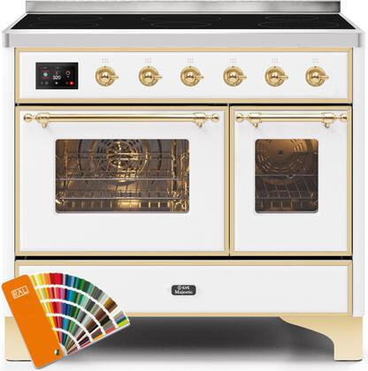 Ilve Majestic II UMDI10NS3RALG Freestanding Electric Range Custom Color, UMDI10NS3RALG-Front-CD-A
