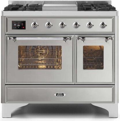 Ilve Majestic II UMD10FDNS3SSC Freestanding Dual Fuel Range Stainless Steel, UMD10FDNS3SSCNG-Front-CD-A