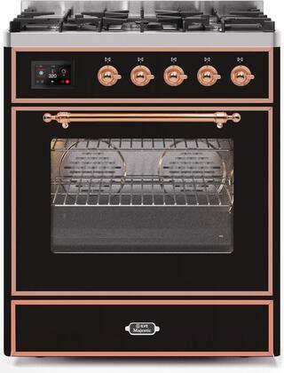 Ilve Majestic II UM30DNE3BKPLP Freestanding Dual Fuel Range Black, UM30DNE3BKPLP-Front-CD-A