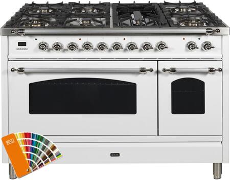 """UPN120FDMPRALXLP 48"""" Nostalgie Series Dual Fuel Liquid Propane Range with 7 Sealed Burners, 5 cu. ft. Total Capacity True Convection Oven, Griddle, in Custom RAL Color with Chrome Trim"""