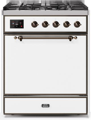 Ilve Majestic II UM30DQNE3WHBLP Freestanding Dual Fuel Range White, UM30DQNE3WHBLP-Front-CD-A