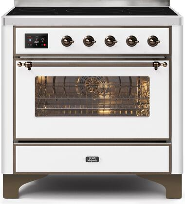 Ilve Majestic II UMI09NS3WHB Freestanding Electric Range White, UMI09NS3WHB-Front-CD-A