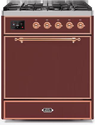 Ilve Majestic II UM30DQNE3BUPLP Freestanding Dual Fuel Range Red, UM30DQNE3BUPLP-Front-CD-A