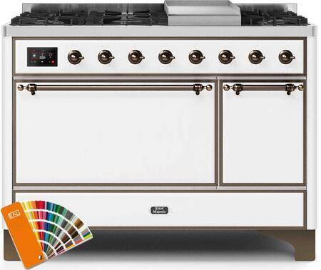 Ilve Majestic II UM12FDQNS3RALBLP Freestanding Dual Fuel Range Custom Color, UM12FDQNS3RALBLP-Front-CD-A