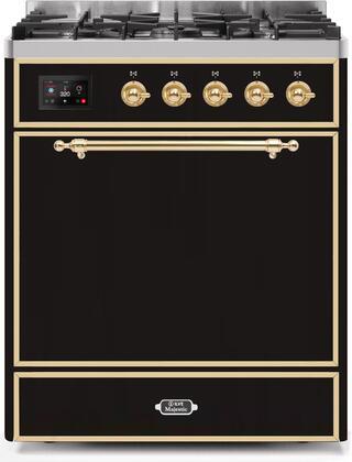 Ilve Majestic II UM30DQNE3BKGLP Freestanding Dual Fuel Range Black, UM30DQNE3BKGLP-Front-CD-A