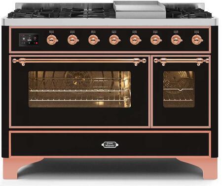 Ilve Majestic II UM12FDNS3BKP Freestanding Dual Fuel Range Black, UM12FDNS3BKPNG-Front-CD-A