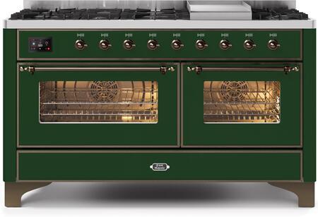Ilve Majestic II UM15FDNS3EGBLP Freestanding Dual Fuel Range Green, UM15FDNS3EGBLP-Front-CD-A