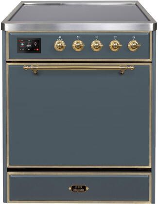 Ilve Majestic II UMI30QNE3BGG Freestanding Electric Range , Blue Grey Induction Range