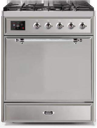 Ilve Majestic II UM30DQNE3SSC Freestanding Dual Fuel Range Stainless Steel, UM30DQNE3SSCNG-Front-CD-A