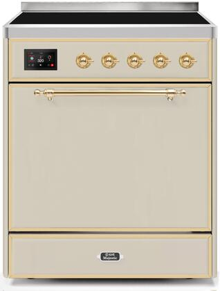 Ilve Majestic II UMI30QNE3AWG Freestanding Electric Range Bisque, UMI30QNE3AWG-Front-CD-A