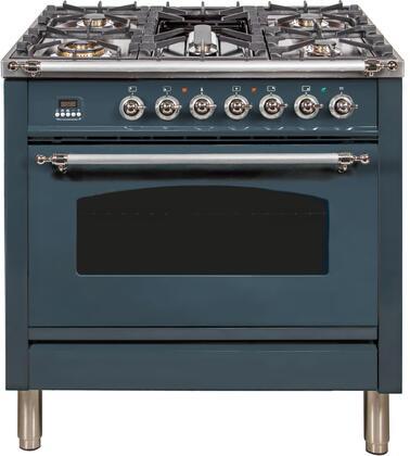 Ilve Nostalgie UPN90FDMPBGX Freestanding Dual Fuel Range Blue Grey, Blue Grey Dual Fuel Range