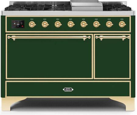 Ilve Majestic II UM12FDQNS3EGGLP Freestanding Dual Fuel Range Green, UM12FDQNS3EGGLP-Front-CD-A