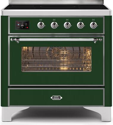 Ilve Majestic II UMI09NS3EGC Freestanding Electric Range Green, UMI09NS3EGC-Front-CD-A