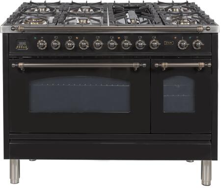 Ilve Nostalgie UPN120FDMPNY Freestanding Dual Fuel Range Black, UPN120FDMPNY Duual Fuel Range