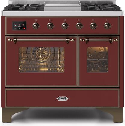 Ilve Majestic II UMD10FDNS3BUB Freestanding Dual Fuel Range Red, UMD10FDNS3BUBNG-Front-CD-A