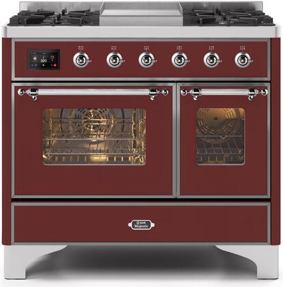 Ilve Majestic II UMD10FDNS3BUC Freestanding Dual Fuel Range Red, UMD10FDNS3BUCNG-Front-CD-A