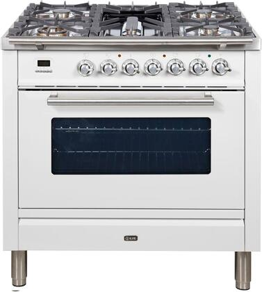 "UPW90FDMPB 36"" Professional Plus Dual Fuel Range with Single Oven, 5 Sealed Burners, Single Oven, Griddle, Rotisserie, and Warming Drawer, in White"