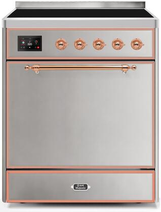 Ilve Majestic II UMI30QNE3SSP Freestanding Electric Range Stainless Steel, UMI30QNE3SSP-Front-CD-A