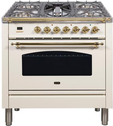 """UPN90FDMPA 36"""" Nostalgie Series Dual Fuel Natural Gas Range with 5 Sealed Brass Burners, 3 cu. ft. Capacity True Convection Oven, with Brass Trim, in Antique White"""
