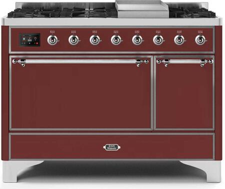 Ilve Majestic II UM12FDQNS3BUCLP Freestanding Dual Fuel Range Red, UM12FDQNS3BUCLP-Front-CD-A