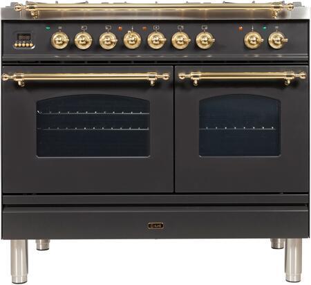 Ilve Nostalgie UPDN100FDMPM Freestanding Dual Fuel Range Slate, UPDN100FDMPM Dual Fuel Range